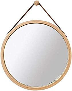 Daily Necessities Mirror with Adjustable Rope Round Vanity Make Up Mirrors Bamboo Framed Circular Shaving Mirror Dressing Cosmetic Mirror (Size : C 38cm) (Size : C 45cm)