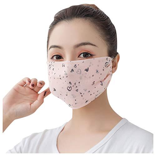 Andouy Damen Face Cover mit Ohrschlaufen Gesichtsschal Neck Gaiter Waschbar Wiederverwendbar Multifunktional Bandanas für Staub(12.5X20CM.L)