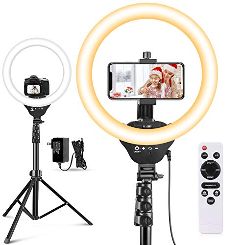 "12"" Selfie Ring Light with 67"" Tripod Stand & Cell Phone Holder, Aureday LED Circle Light for Photography/Makeup/YouTube Video Recording/TIK Tok/Vlogging"