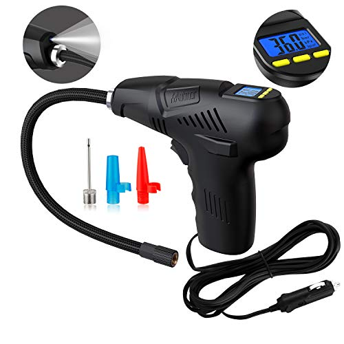 Manfiter Tire Inflator with Tire Gauge Pressure, Portable Air Compressor Pump, Hand Held 12V Digital Universal Tire Pump, 120 PSI LCD Display Fast Inflating for Car,Truck, Motorcycle, Bike,Ball