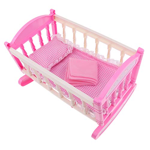 MagiDeal Baby Doll Bed Reborn Cradle Realistic Baby Doll Crib Doll Furniture Accessories