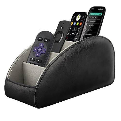 TiMOVO Remote Control Holder 5 Compartments PU Leather TV Remote Organizer Remote Caddy Desktop Organizer for Remote Controllers Office Supplies Makeup Brush Media Accessories  Black