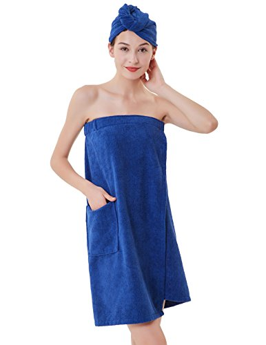 Zexxxy Towel Wrap for Women Spa Shower Bath and Gym Towels Blue L