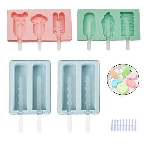 Silikon-Formen für Eis am Stiel mit Deckel und wiederverwendbaren Kunststoffstäbchen, Herstellung von Eis / Eis für Kinder, Erwachsene (4, mehr)