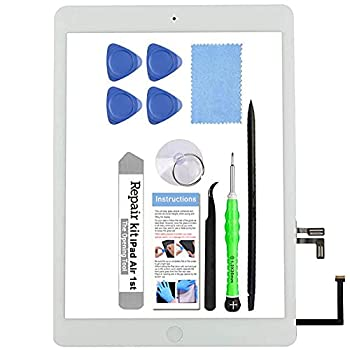 for iPad Air 1st Generation A1474 A1475 A1476 Screen Replacement Glass Touch Digitizer Repair Kit with Home Button & Tools -  White
