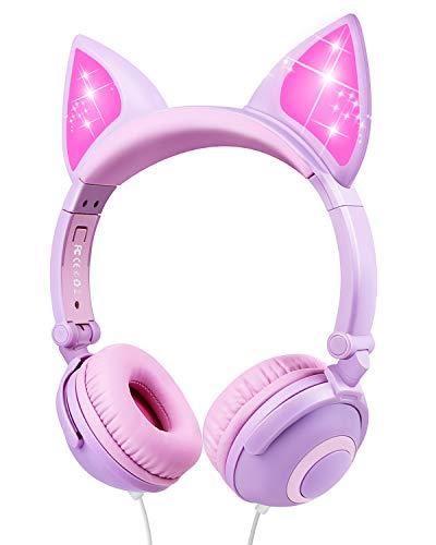 Cuffie per Bambini, Sunvito Orecchio sopra con orecchie di gatto incandescente a LED, Cuffie Bambina Pieghevoli Cablate, 85dB Volume, cuffie gatto per ragazzo (Viola)