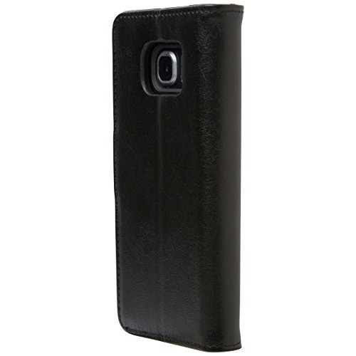 Ultratec Funda protectora para Samsung Galaxy S6 Edge en elegante símil de cuero con recipiente interior desmontable, negro