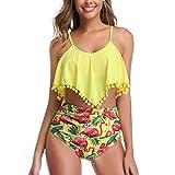 Ugitopi Damen Verstellbare Oberteile Badeanzüge mit hoher Taille Bademode Bikinis Set (Yellow Flamingo,XXL)