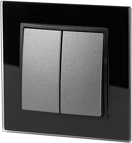 UP Crystal Glass On/Off Switch 2-Way – All-in-One – Frame + Flush-Mounted Insert + Cover – Black/Anthracite