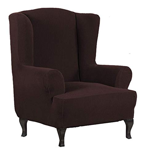 Atack-B Jacquard Sesselbezug, Sessel Überwürfe Ohrensessel Überzug Bezug Sesselhusse Elastisch Stretch Husse Für Ohrensessel Ohrensessel Bezug (Braun)