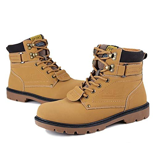 QHGao Britse retro-high-top schoenen, korte laarzen, vrijetijdsschoenen met dikke zolen, anti-slip warme en comfortabele overalls, Martin laarzen om te snoeren in de herfst en winter.