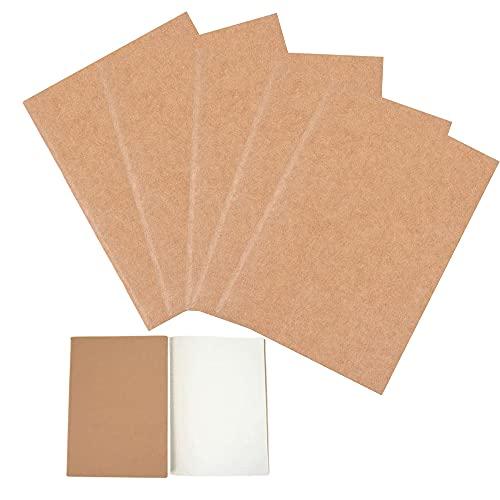 5Pcs Cuaderno de Papel Kraft, Diario Kraft, Cuaderno en Blanco, Blocs de Notas Kraft, 80Páginas/40Hojas, 25,5x18,3cm, para Viajes, Escuela, Oficina, Notas, Dibujo, Diario
