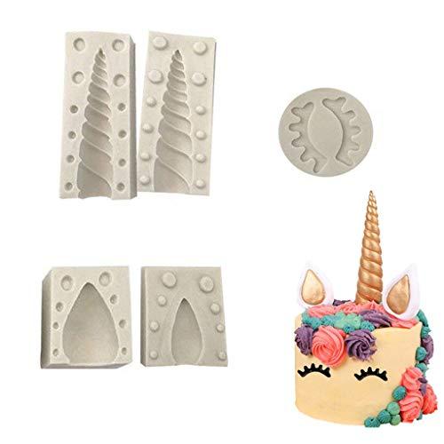 Formemory DIY Einhorn Silikonform Kuchenform Fondant Tortendeko Schokolade Form Backen Formen Dekorieren Handgefertigte Zucker(Grau) Set 5 Stück (Einhorn)