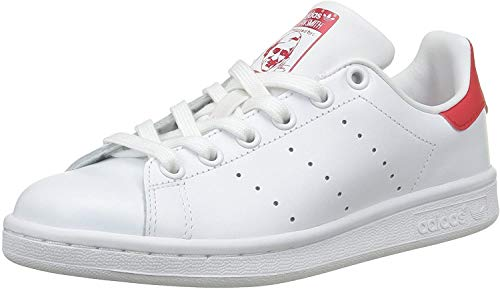 adidas Herren Stan Smith Basketballschuhe, Elfenbein (Running White FTW/Running White FTW/Collegiate Red), 36 EU