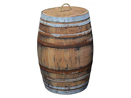 Temesso Regentonne, Regensammler, Weinfass Barrique aus Eiche 225 Liter - rustikal (Regenfass offen + Deckel Kordel + Wasserhahn)