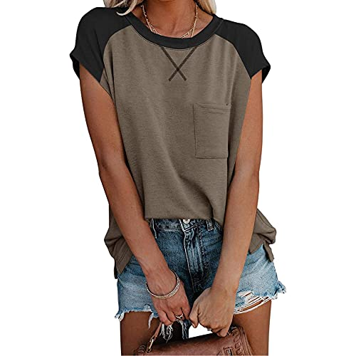 WXMSJN T-Shirt Girocollo Manica Corta Tasca Incrociata da Donna Estiva
