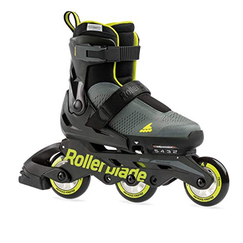 Rollerblade Microblade Free 3WD Kid's Size Adjustable Inline Skate, Anthracite and Lime, High Performance Inline Skates, ANTHRACITE/LIME, kid 11j-1