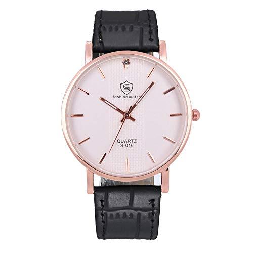 Jyuter12 Reloj De Hombre para Mujer Reloj De Cuarzo con Esfera Delgada Negro
