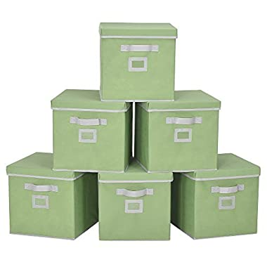 StorageWorks Storage Cube Box With Lid, Fabric Storage Bin By, Green, Large, 6-Pack, 11.8x11.8x11.8 inches
