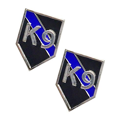 Thin Blue Line K9 Canine Dog Black and Blue Silver Trim Lapel Pin (Two Lapel Pins)