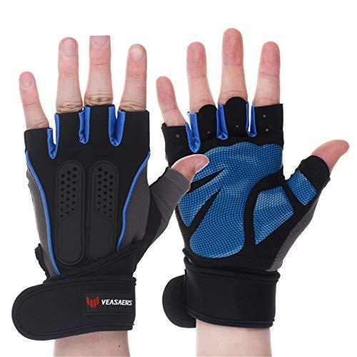Prolongación de la muñeca Guantes de Fitness Fitness Guantes Protectores de los Hombres y Las Mujeres a Caballo Medio Dedo Antideslizante Transpirable Entrenamiento de Halterofilia,Azul,XL