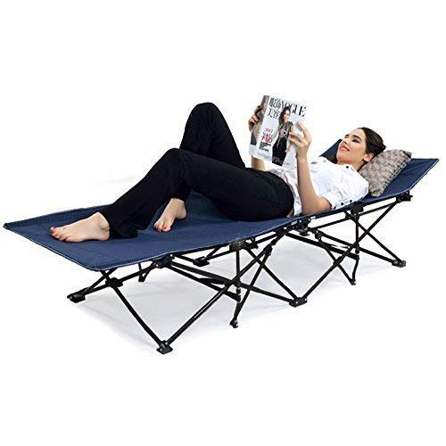 FEELING MALL Folding Camping Cot Outdoor Camping Bed Portable with Carry Bag Camp Cot for Adults for Hiking Backpack Car Camping Outdoor&Indoor Picnic Lightweight Bed, Blue