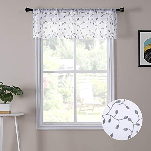 Tollpiz Leaves Sheer Valance Curtains Grey Leaf Embroidery Bedroom Curtain Rod Pocket Voile Curtains for Living Room, 54 x 16 inches Long, Set of 1 Panel