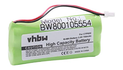 vhbw NiMH Batteria 700mAh (2.4V) per Telefono Fisso Cordless Bang & Olufsen BeoCom 4 Sostituisce CTP950.