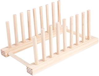 milopon Escurridor gestel Escurridor Soporte escurridor Cocina cesta Platos Soporte de madera de bambú para platos, tazas, libro geschirrtrockner Escurridor Platos Soporte