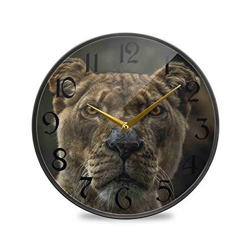 ART VVIES Reloj de Pared Redondo de 12 Pulgadas Que no Hace tictac silencioso Funciona con Pilas Oficina Cocina Dormitorio decoración del hogar-León de la Vida Salvaje