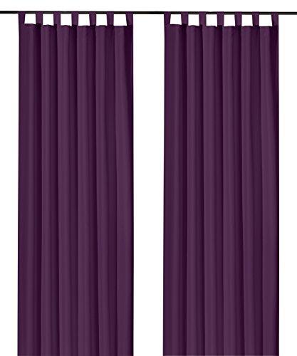 heimtexland ® Dekoschal mit Schlaufen und Kräuselband uni in lila HxB 175x140 cm BLICKDICHT aber Lichtdurchlässig - Vorhang natürlich matt violett einfarbig mit wunderschön leichtem Fall - Schlaufenschal Bandschal ÖKOTEX Gardine Typ117
