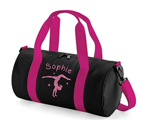 Absolut Top Mädchen Personalisierbar Gymnastik Handstand Glitzer Barrel Bag, Ink Black & Deep Bubblegum Pink/Magenta Glitter, 40x20x20cm