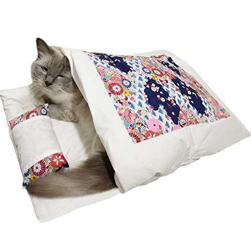 Umora 猫ベッド ペットベッド 寝袋 猫クッション 猫用 小さい犬用 柔らかい 和風 可愛い 洗える ダークブルー L