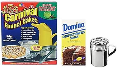Carnival Mart Funnel Cake Kit - Funnel Cake Maker - Includes Winware Stainless Steel Dredge, and 1lb Confections Sugar -Funnel Cake Mix - Batter Dispenser - Funnel Cake Rings- Funnel Cake Pitcher -Powdered Sugar Shaker