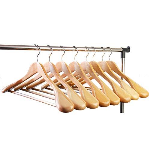 meqution Coat Hanger 8-Pack, Wood Hangers Trouser Hangers Extra Wide Shoulder Wooden Hangers for Heavy Coat, Sweater, Skirt, Suit, Pants, Retro Finish (Natural Finish)