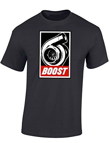 Petrolhead Industries: Boost - Auto Shirt - Geschenk für Autoliebhaber - T-Shirt für alle Tuning-, Drift-, und Motorsport Fans (L)