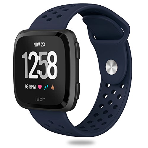 Hagibis Compatible Fitbit Versa Bands Sport Silicone Replacement Breathable Strap Bands New Fitbit Versa Smart Fitness Watch (2.Midnight Blue)