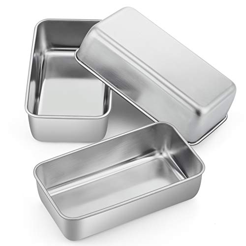 Loaf Pan Bread Baking Pans Set of 3, P&P CHEF 9 inch Stainless Steel Bakeware For Bread Meatloaf Lasagna Cake Toast, Food Safety & Non Toxic, Deep Side & Smooth Roll, Easy Clean & Dishwasher Safe