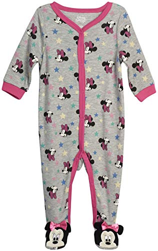 Disney Baby Girls' Sleep N' Play – Footie Pajamas: Minnie Mouse, Daisy Duck, Princess (Newborn/Infant), Size 6-9 Months, Minnie Pink/Grey