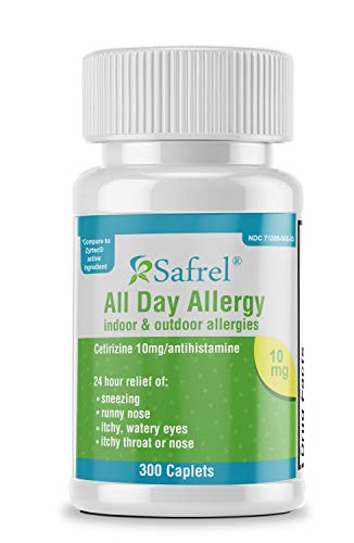 Safrel All Day Allergy Relief Medicine, Cetirizine Hydrochloride Tablets, 10 mg, 24 Hour Relief...