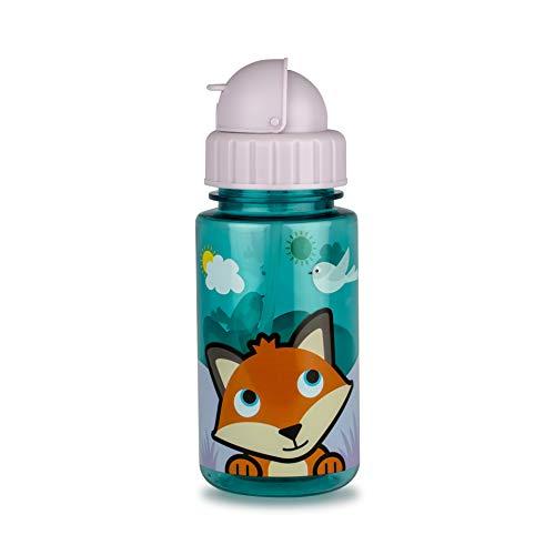 TUM TUM Flip Top Kids Water Bottle with Straw, Tritan Toddler Water Bottle, 400ml, BPA Free (Felicity The Fox)