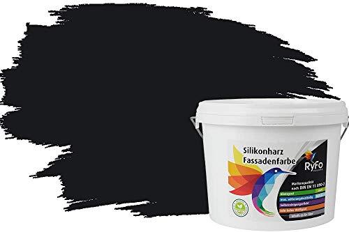 RyFo Colors Silikonharz Fassadenfarbe Lotuseffekt Trend Schwarz 3l - bunte Fassadenfarbe, weitere Grau Farbtöne und Größen erhältlich, Deckkraft Klasse 1