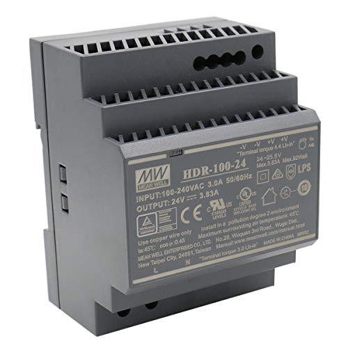 MEAN WELL HDR-100-24 AC-DC Ultra Slim DIN Rail Netzteil CV, schwarz