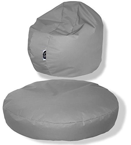Patchhome, zitkussen, rond, 2-in-1, voor binnen en buiten, 100 x 20 cm, in 25 verschillende Kleuren: 100x20cm grijs