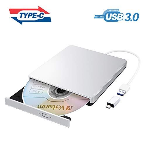 VicTsing Masterizzatore CD DVD Esterno, Unità Dvd Esterna USB 3.0 con Adattatore di Tipo-C, Lettore di Schede Portatile per Win 10/8/7/XP/Vista/Linux/Mac OS, Argento