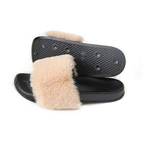 LSWJS Fur Slides for Women Vegan Fuzzy Sandals Flip Flop Furry Slides Soft Flat Sole Indoor Outdoor (6, Khaki)