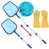 Sholov Retino per piscina, retino per foglie, con asta telescopica da 1,6 m, in alluminio, set di pulizia per piscina con guanti di pulizia.