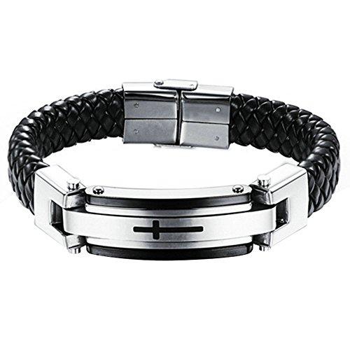 Onefeart Edelstahl Kreuz Pattern Gewebte Leder Bangle Armband für Herren Junge 22CM Silber
