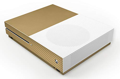 atFoliX Skin kompatibel mit Microsoft Xbox One S, Designfolie Sticker (FX-Carbon-Gold), Carbon-Struktur / Carbon-Folie