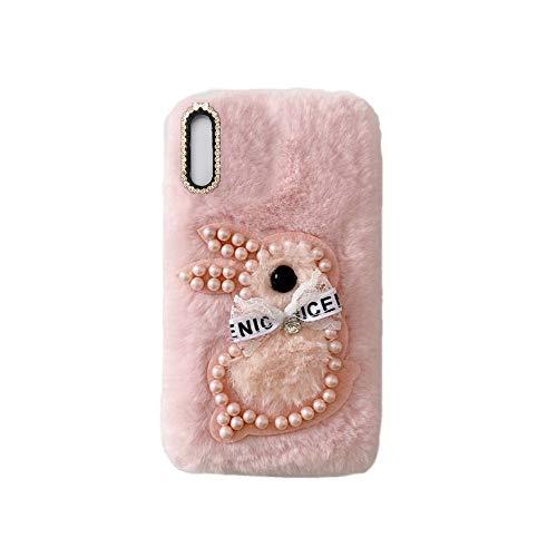 YHY Samsung A7 2018 Estuche Teléfono Móvil Estilo Lindo 3D Perla Linda Peluche De Conejo para Samsung Galaxy A7 2018 Rosado